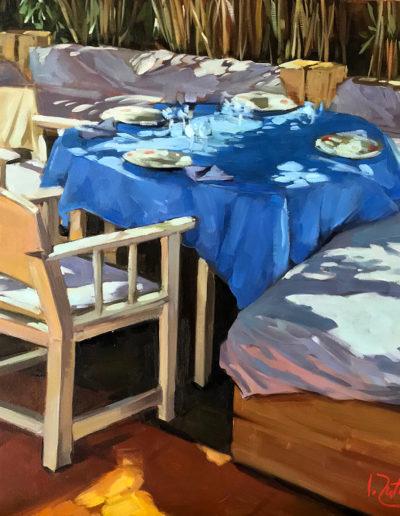 Déjeuner à la nappe bleue